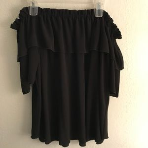 Black Off the Shoulder Top w/ Ruffle